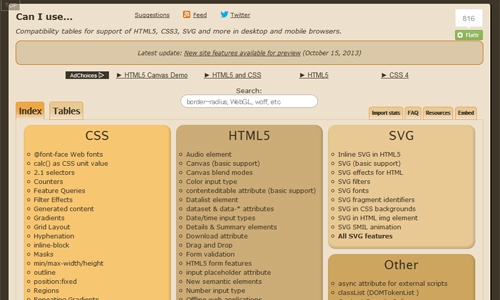 Can I use... Support tables for HTML5, CSS3, etc